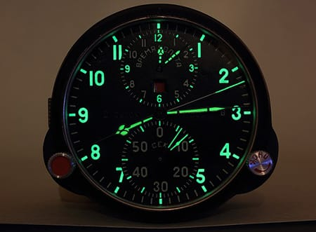 reloj de avion ruso luminiscente